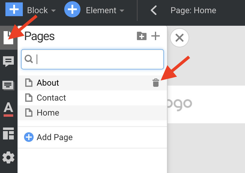 click on Pages, then delete those not wanted